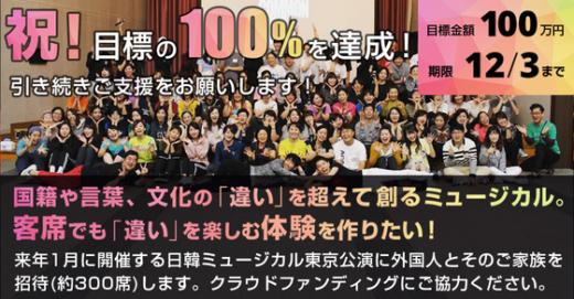 【クラウドファンディング】祝!100%を達成しました!ソウルでの合同合宿中にキャストに発表できました!